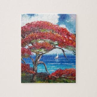 Blooming Royal Poinciana Tree and Sailboat Jigsaw Puzzle