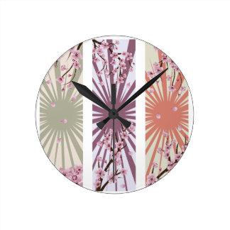 Blooming Sakura Banner Round Clock