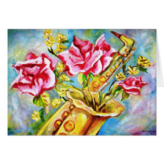 BLOOMING SAX GREETING CARD