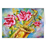 BLOOMING SAX STATIONERY NOTE CARD