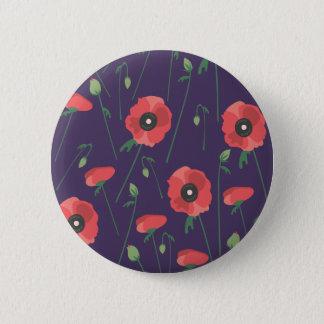 Blooming Springtime Poppies Purple Pinback Button