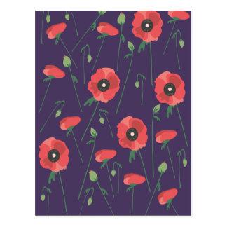Blooming Springtime Poppies Purple Postcard