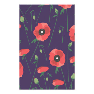 Blooming Springtime Poppy Purple Stationery