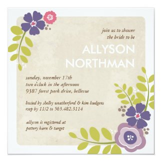 Blooming Swag Bridal Shower Invitation in Purple