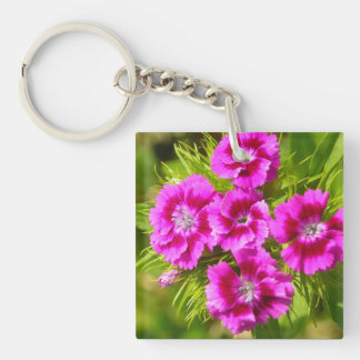 Blooming Sweet William Flowers Single-Sided Square Acrylic Keychain