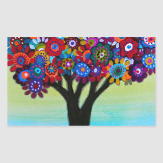 BLOOMING TREE RECTANGULAR STICKER