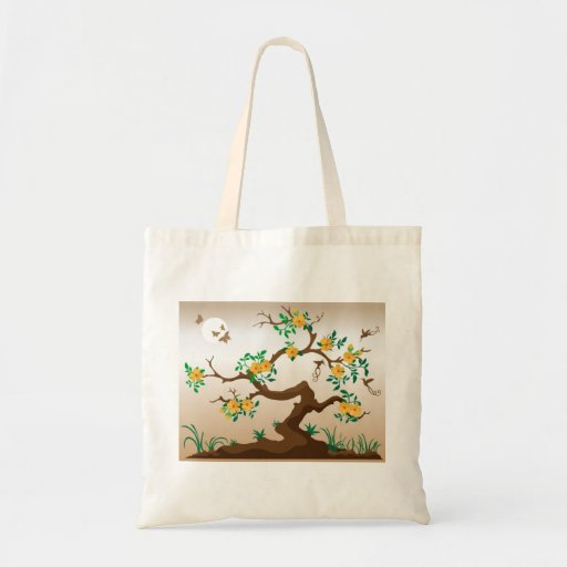 Blooming Tree with Hummingbirds Tote Bag