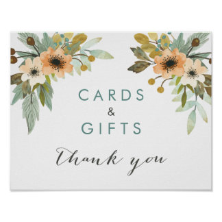 Blooming Watercolor Cards and Gifts Poster