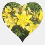 Blooming Yellow Flowers Heart Sticker