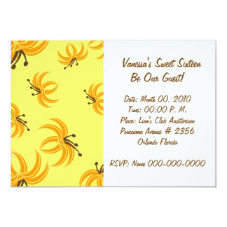 Blooming Yellow Sweet Sixteen Invitation-Customize 5x7 Paper Invitation Card