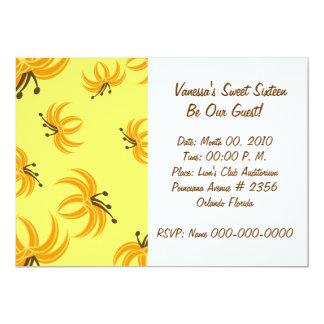 Blooming Yellow Sweet Sixteen Invitation-Customize Card