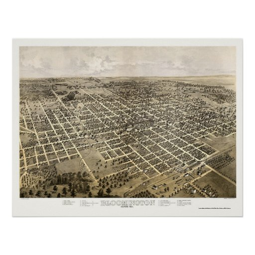 Bloomington, IL Panoramic Map - 1867 Poster