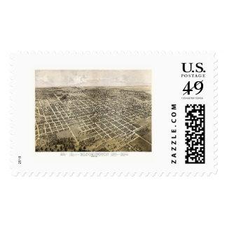 Bloomington, IL Panoramic Map - 1867 Stamp