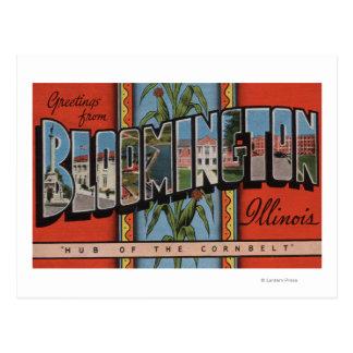Bloomington, Illinois - Large Letter Scenes Postcard