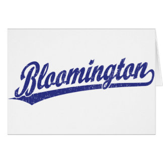 Bloomington script logo in blue greeting cards