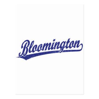 Bloomington script logo in blue postcard