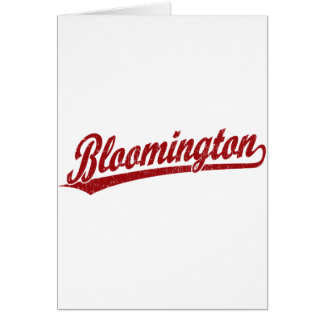 Bloomington script logo in red cards