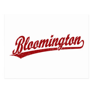 Bloomington script logo in red post card