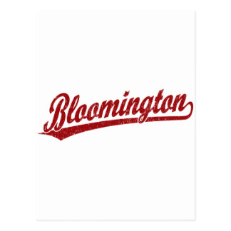 Bloomington script logo in red postcards