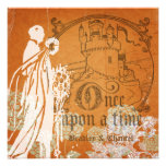 Blooms on Orange Once Upon a Time Wedding Invite