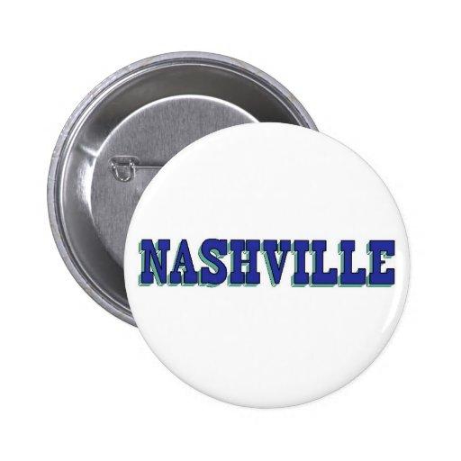 Bloque azul de Nashville Pin Redondo De 2 Pulgadas
