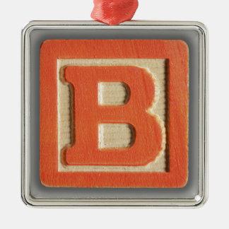 Bloque B del juguete del alfabeto Adorno Cuadrado Plateado