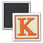 Bloque clásico K de la letra de los niños Imanes Para Frigoríficos