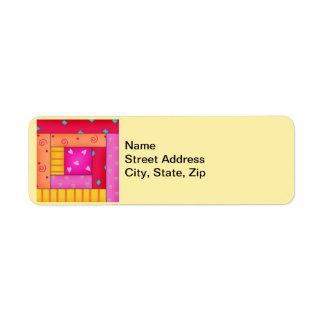 Bloque colorido de la cabaña de madera del arte etiquetas de remite