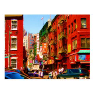 Bloque colorido NYC de Chinatown Postales