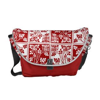 Bloque cuadrado rojo y blanco de la flor salvaje bolsas messenger