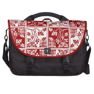 Bloque cuadrado rojo y blanco de la flor salvaje bolsas de portátil