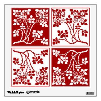 Bloque cuadrado rojo y blanco de la flor salvaje t