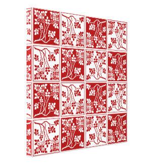 Bloque cuadrado rojo y blanco de la flor salvaje t impresión en lienzo estirada