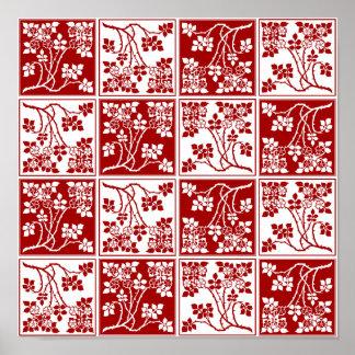 Bloque cuadrado rojo y blanco de la flor salvaje t poster