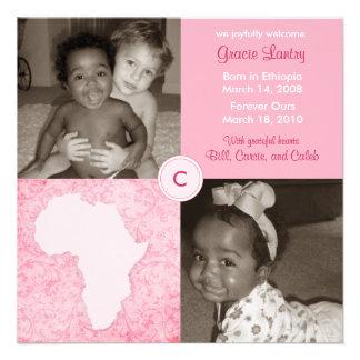 Bloque de África: Suavemente rosa Invitación Personalizada
