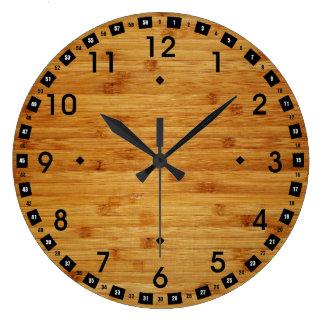 Bloque de carnicero de bambú reloj redondo grande