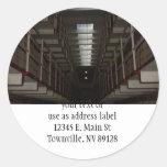 Bloque de célula de Alcatraz - nivel superior Etiqueta Redonda