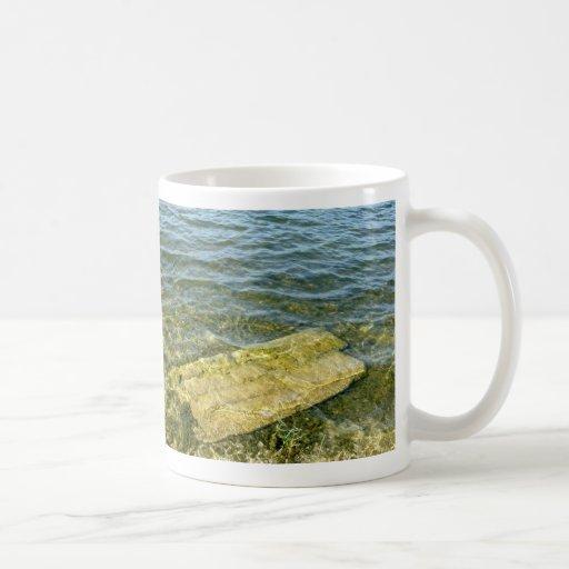 Bloque de cemento en la charca tazas de café