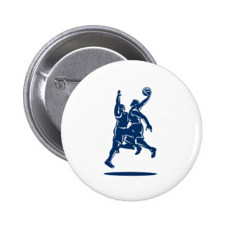 Bloque de la clavada del jugador de básquet retro pin