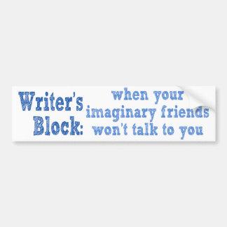 Bloque de los escritores: pegatina para auto