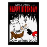 Bloque de los escritores de la vaca felicitación