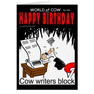 Bloque de los escritores de la vaca tarjeta de felicitación