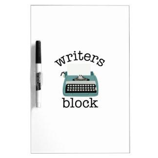 Bloque de los escritores pizarra blanca