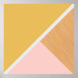Bloque de madera del color de la mostaza moderna póster