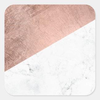 Bloque de mármol blanco del color del oro color de pegatina cuadrada