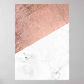 Bloque de mármol blanco del color del oro color de póster