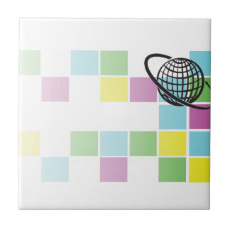 Bloque de neón global azulejo cuadrado pequeño