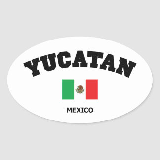 Bloque de Yucatán Calcomania Oval Personalizadas