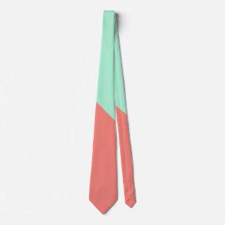 Bloque del color de la menta y del coral corbata personalizada