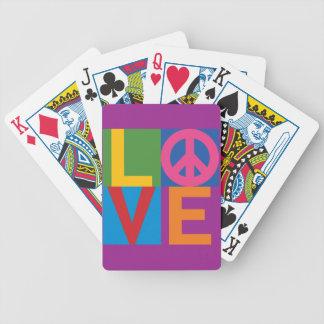 Bloque del color de la paz del amor baraja de cartas bicycle